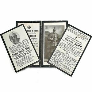 Original 3x WW1 German Army Soldiers Mourning Death Card Killed in Action UF47