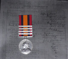 QSA 4 CLASPS TO 6th BATT. ROYAL WARWICKSHIRE REGT. + Papers & Rolls