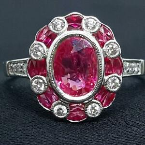 $5,499 Antique 14K White Gold 1.75ct Certified Burma Ruby Heat Only Diamond Ring