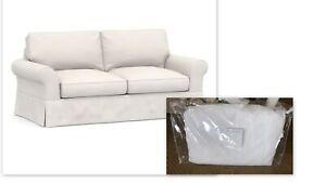 New Pottery Barn SLIPCOVER PB Comfort Roll Arm Sofa Box Edge White Warm Denim