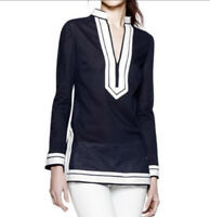 Tory Burch Size 6 Long Sleeve Cotton Tunic Top In Navy Blue With White Trim