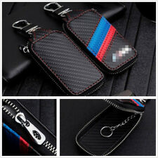 1x PU Carbon Fiber Car Key Holder Keychain Fob Case Cover Key Wallet Bag Zipper