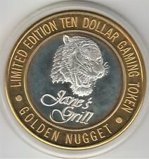 1994 Golden Nugget Laughlin Jane's Grill Tiger .999 Fine Silver $10 Casino Token