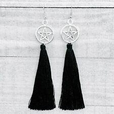 Wicca Wiccan Pengtagram Pagan Black Tassel Hook Earrings