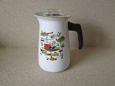 "Vintage Enamelware Aluminum Lidded 9"" tall Coffee Pot Percolator Georges Briard"