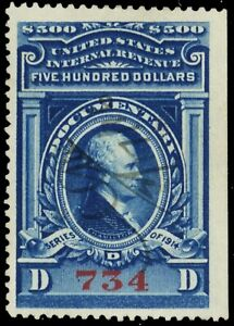 R226, Used VF $500 Revenue Stamp Very Well Centered Gem - Stuart Katz