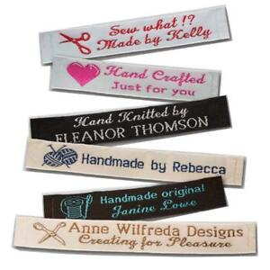 """25 Personalized 100% Woven Sewing Labels 1/2"""" Wide"""