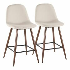 OPEN BOX Pebble Mid-Century Modern Counter Stool in Walnut Metal and Beige Fa...