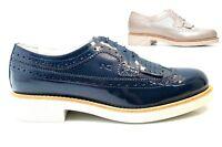 Nero Giardini P717072D Savana e Blu Stringate Scarpe Donna Stile Inglese