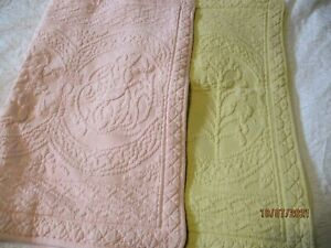 Williamsburg Pine Cone Hill Quilted Pillow Shams Pink and Yellow