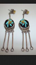 Vintage Turquoise Onyx Sterling Silver Dangle Earrings