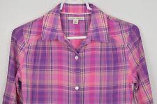 Banana Republic Petite XS Plaid Button Up Shirt Long Sleeve Pink Blue