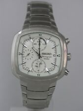 Seiko mens watches chronograph alarm stainless steel rectangle case SNA635