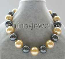 """P6916-18"""" 20mm natural gold and black south sea shell pearl necklace-gold plated"""
