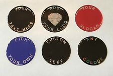 CUSTOM ROUND STICKER - YOUR TEXT PRINTED & COATED WITH GLOSS DOMED GEL FINISH