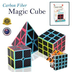 Carbon Fiber Magic Speed Cube Puzzle Smooth Kids Games Toy 4x4 Pyramid Assorted