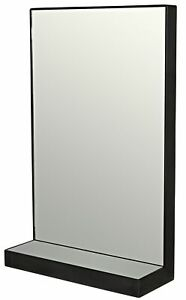 """38"""" T Wall Mirror with Shelf Handcrafted Forged Steel Frame Large Contemporary"""
