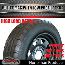 14x6 175/65R14 LT Sunraysia Black Wheel Rim & Low Profile Tyre suit Ford Trailer
