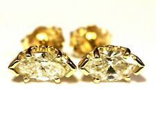 14k yellow gold SI2J .67ct marquise diamond stud earrings estate vintage antique