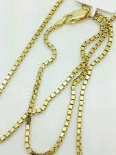 """14k Solid Yellow Gold Box Link Necklace Pendant Chain 24"""" 1.6mm"""