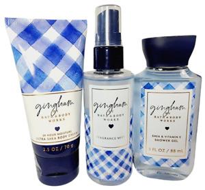 Bath Body Works GINGHAM 3pc Travel Set Body Cream Fragrance Mist Shower Gel NEW