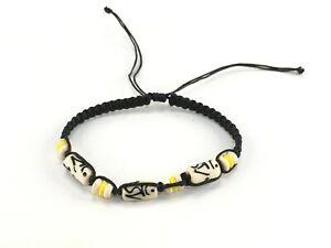 Men Women Yellow Tribal Bracelet Beads Handmake Vintage Gift For Kids Boy Girls