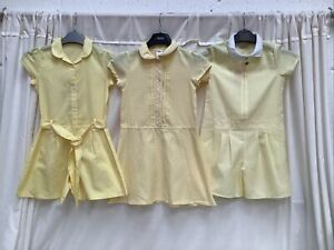 3 x Yellow Gingham School Summer Dresses Bundle Age 6-7 years Regular Fit George