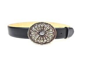 RALPH LAUREN Matte Black Leather Jewel Encrusted Belt Sz 34 200338AT
