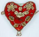 Vintage+Early+Native+Beadwork+4%22+Pin+Cushion+Bird+Heart+Design+-+Clear+Beads