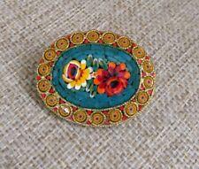 Vintage Micro Mosaic Brooch Flowers
