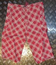 Indian Rose Ladies Cropped Pink/Red Linen Trousers