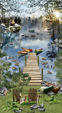 Lakeside Afternoon Panel-Timeless Treasures-Dock-Water-birds-Trees-Relaxing