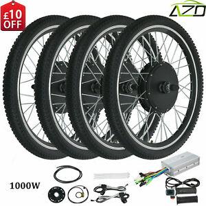 """Electric Bicycle Wheel E Bike 26"""" Conversion Kit Front Rear Wheel 1000W 48V"""