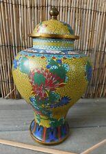 """Vintage CHINESE 11"""" CLOISONNE ENAMELED GINGER JAR VASE URN Lovely w/Lid"""