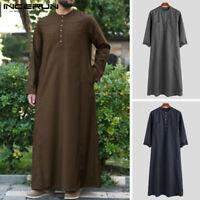 Muslim Clothing Long Sleeve Kaftan Mens Saudi  Thobe Islamic Jubba Kaftan Dress