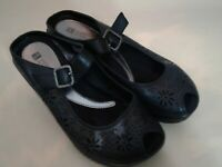 "White Mountain Black Leather Mary Jane Comfort 2.5"" Heel Womens Size 8.5 M Shoes"