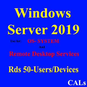 Remote Destop Sevices, 50 Users/Devices, Os system, Windows SV 2019 50 Rds Cals