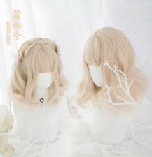 NEW Short Curly Hairpiece Milk Golden Japan Style Girls Dolly Lolita Cosplay Wig