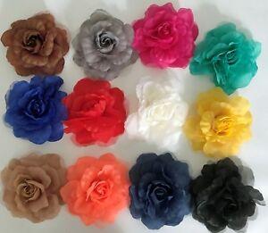 "'Rosie' Large Silk & Georgette 16cm (6"") Millinery Flower Hat Mount - 12 Colours"