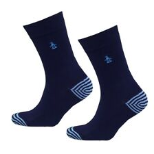 ORIGINAL PENGUIN Gifts For Men Pair Striped Everyday Marine Blue Socks UK 7-11