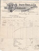 U.S. Irwin Bros. & Co. 1900 Livestock Merchants,Kansas. Cow Pic.Invoice Rf 43865