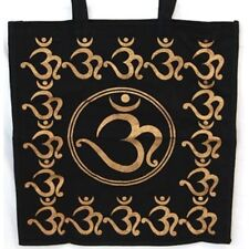BLACK & GOLD OM TOTE BAG - Wicca Pagan Witch Goth Punk Eco Shopping AUM COTTON