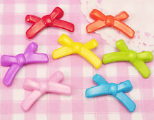 30 x Kawaii Bow Shaped Colourful Plastic Beads Jewellery Making UK SELLER