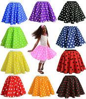 """Kids 12"""" PINK POLKA DOT ROCK N ROLL 50s SKIRT & SCARF FANCY DRESS COSTUME"""