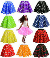 "CHILDRENS 12"" PINK POLKA DOT ROCK N ROLL 50s SKIRT & SCARF FANCY DRESS COSTUME"