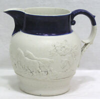 Vintage Cream Pitcher White Embossed Fox Hunt Scene Blue Banded Top 1940s 4 1/2""