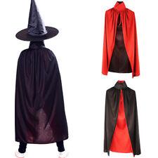 Unisexe Cape Capuche Sorcier Long Manteau Velours Halloween Déguisement Cosplay