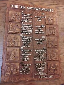Vintage Ten Commandments Wall Plaque Plastic Made in USA Hanger Christian RARE