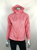 Lands End Rain Jacket M 10-12 Pink White Floral Nylon Hooded Packable Lightweigh