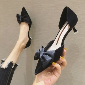 Women's Lady New Trendy Pointed Toes Bow Knot Kitten Heels Shoes Pumps Chic